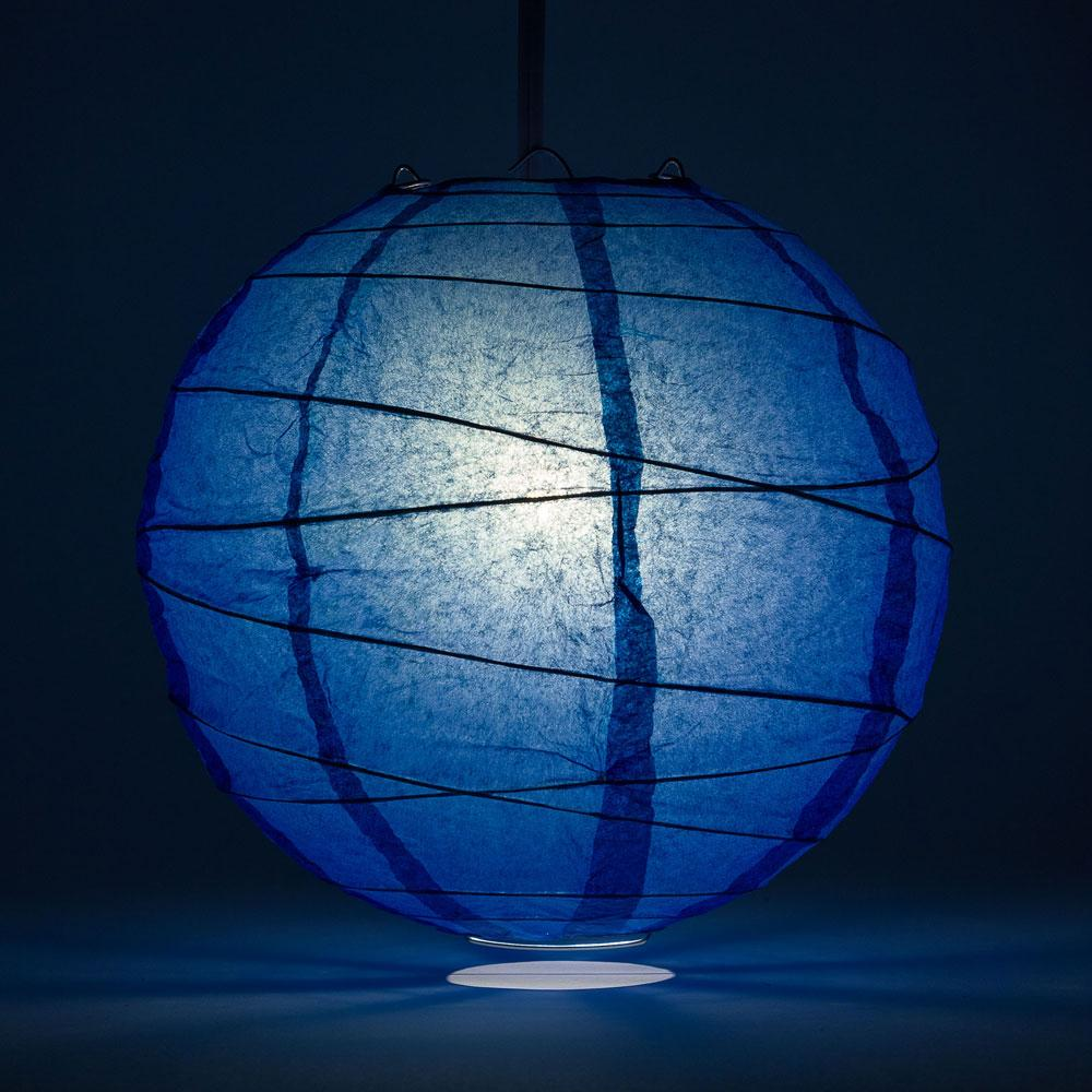 "8"" Dark Blue Round Paper Lantern, Crisscross Ribbing, Chinese Hanging Wedding & Party Decoration - AsianImportStore.com - B2B Wholesale Lighting and Decor"