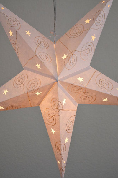 "BLOWOUT 24"" Gold & White Swirl Embroidery Paper Star Lantern, Chinese Hanging Wedding & Party Decoration"