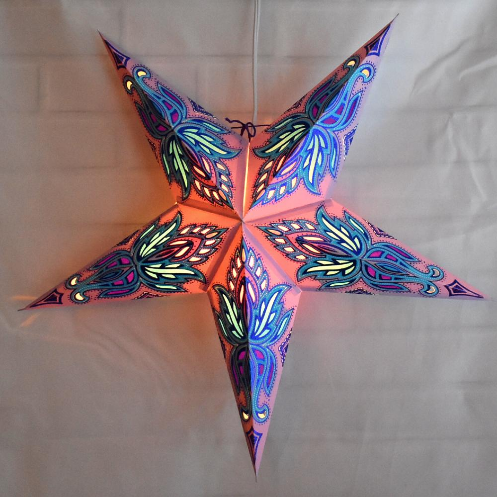 "24"" Pink Blue Lotus Glitter Paper Star Lantern, Chinese Hanging Wedding & Party Decoration - AsianImportStore.com - B2B Wholesale Lighting and Decor"