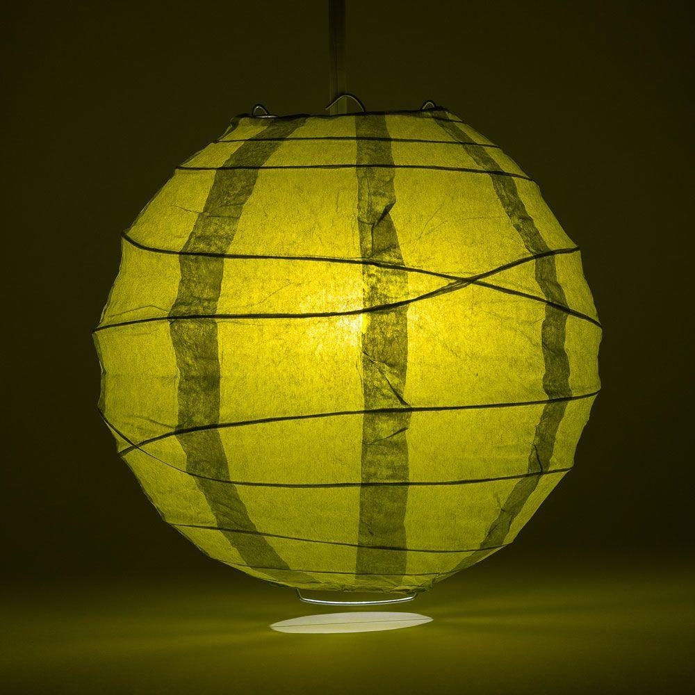 "24"" Pear Round Paper Lantern, Crisscross Ribbing, Chinese Hanging Wedding & Party Decoration"