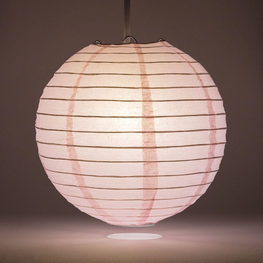 "14"" Pink Round Paper Lantern, Even Ribbing, Chinese Hanging Wedding & Party Decoration - AsianImportStore.com - B2B Wholesale Lighting and Decor"
