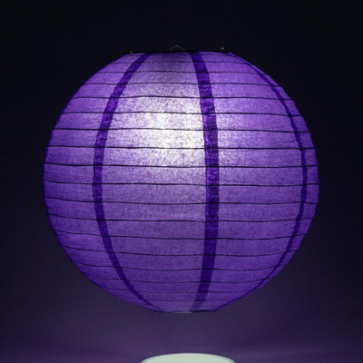 "30"" Plum Purple Jumbo Round Paper Lantern, Even Ribbing, Chinese Hanging Wedding & Party Decoration"