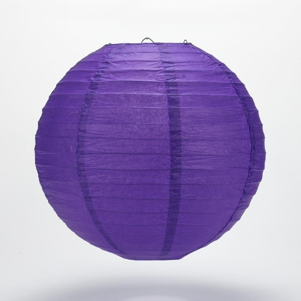 "24"" Plum Purple Round Paper Lantern, Even Ribbing, Hanging Decoration"