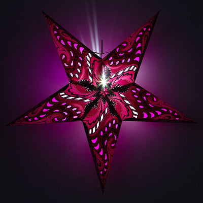 "24"" Purple Paisley Paper Star Lantern, Chinese Hanging Wedding & Party Decoration"