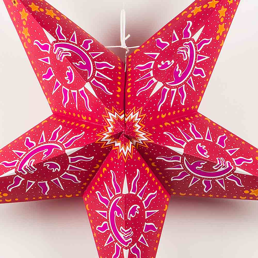 "24"" Purple Sun Window Paper Star Lantern, Chinese Hanging Wedding & Party Decoration - AsianImportStore.com - B2B Wholesale Lighting and Decor"