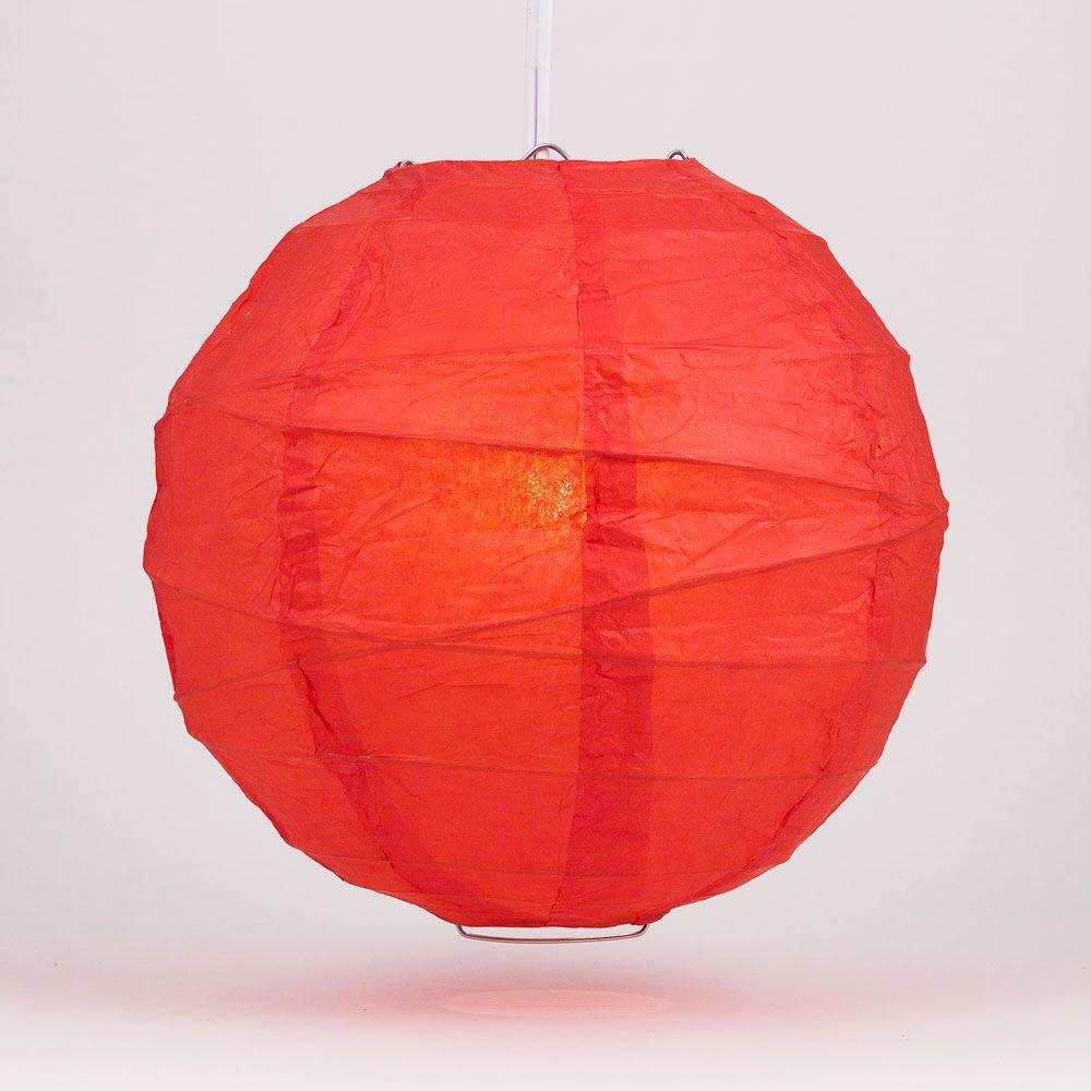 "24"" Red Round Paper Lantern, Crisscross Ribbing, Chinese Hanging Wedding & Party Decoration - AsianImportStore.com - B2B Wholesale Lighting and Decor"
