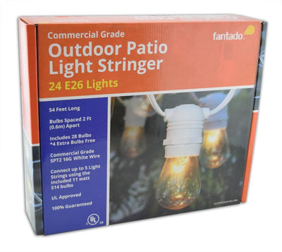 24 Socket Outdoor Commercial String Light Set, S14 Bulbs, 54 FT White Cord w/ E26 Medium Base, Weatherproof - AsianImportStore.com - B2B Wholesale Lighting and Decor