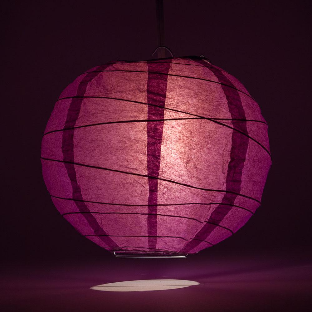 "20"" Violet / Orchid Round Paper Lantern, Crisscross Ribbing, Chinese Hanging Wedding & Party Decoration"