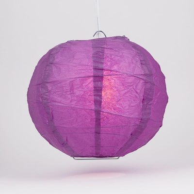 "10"" Violet / Orchid Round Paper Lantern, Crisscross Ribbing, Chinese Hanging Wedding & Party Decoration"