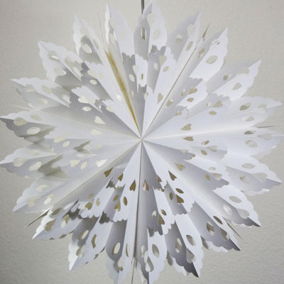 Quasimoon Pizzelle Paper Star Lantern (24-Inch, White, Winter Wreath Snowflake Design) - Great With or Without Lights - Holiday Snowflake Decorations