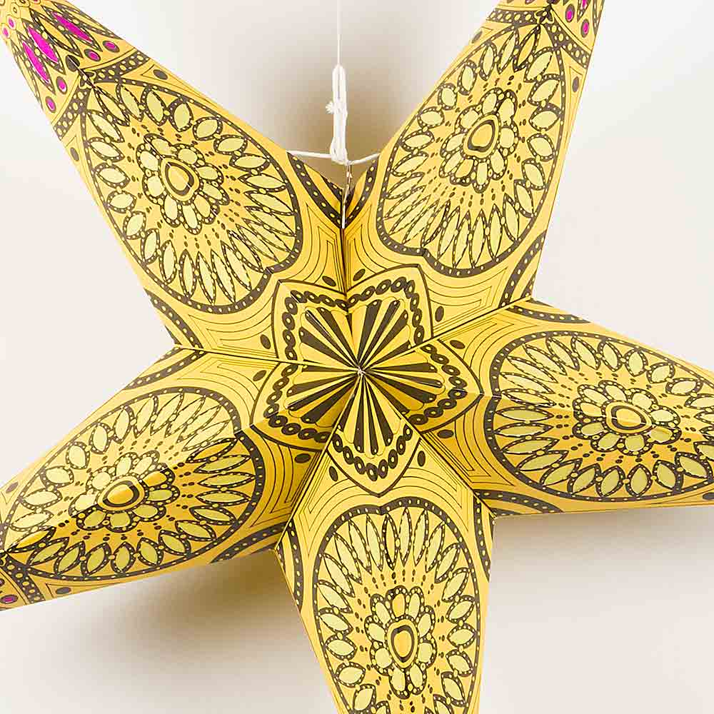 "24"" Yellow w/ Window Paper Star Lantern, Chinese Hanging Wedding & Party Decoration - AsianImportStore.com - B2B Wholesale Lighting and Decor"