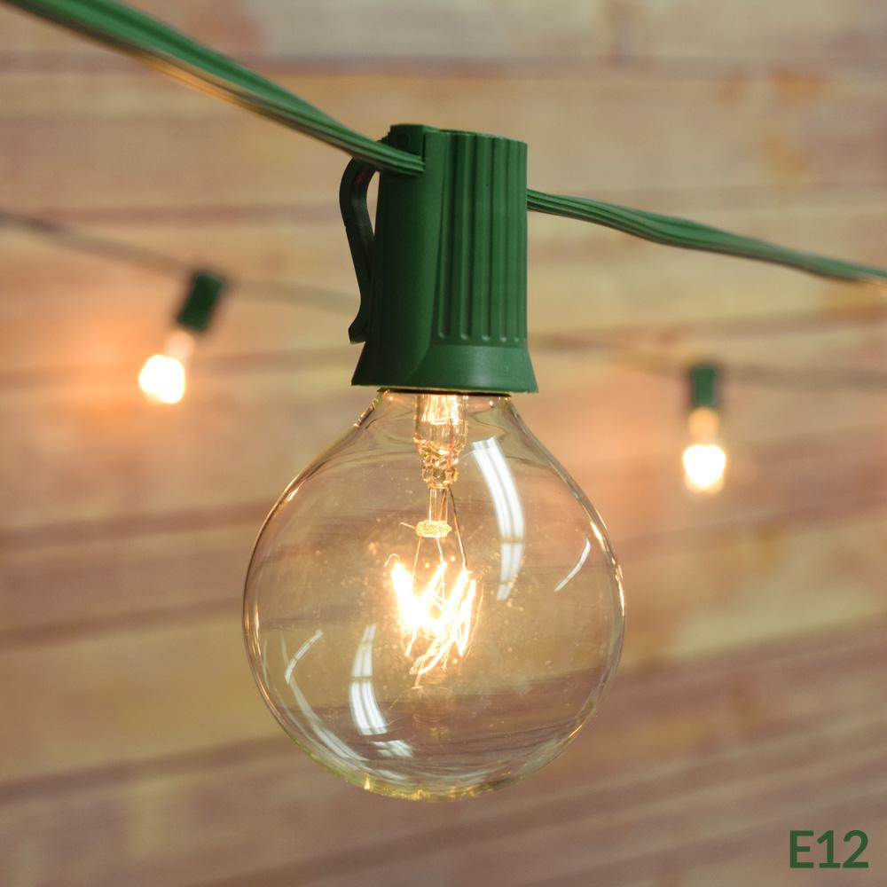 28 Ft | 25 Socket Outdoor Green Patio String Light Cord With Clear Globe Bulbs - E12 C7 Base, UL Listed