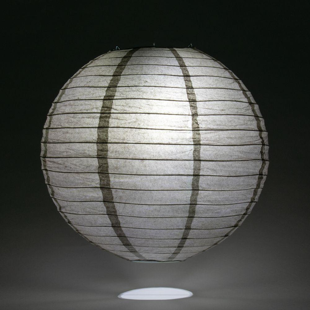 "24"" Driftwood Grey Round Paper Lantern, Even Ribbing, Chinese Hanging Wedding & Party Decoration"