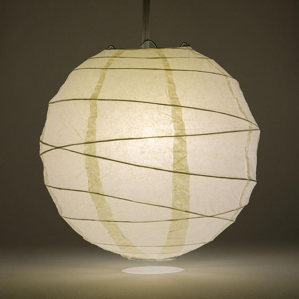 "10"" Beige / Ivory Round Paper Lantern, Crisscross Ribbing, Chinese Hanging Wedding & Party Decoration - AsianImportStore.com - B2B Wholesale Lighting and Decor"
