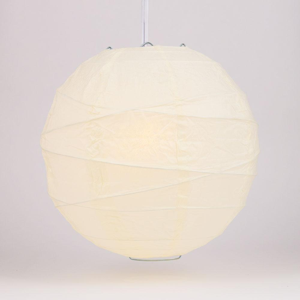 "36"" Beige / Ivory Jumbo Round Paper Lantern, Crisscross Ribbing, Chinese Hanging Wedding & Party Decoration"
