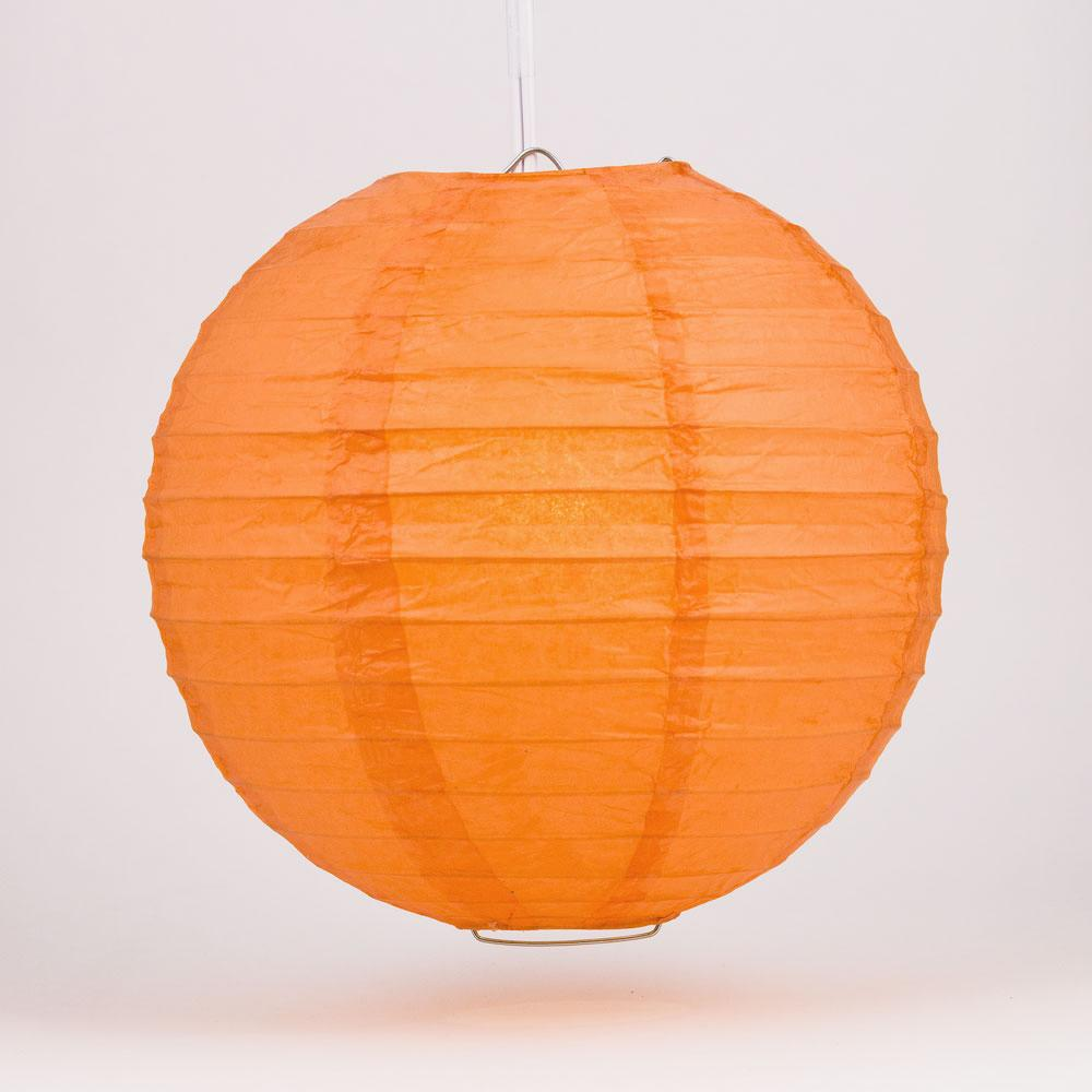 "36"" Persimmon Orange Jumbo Round Paper Lantern, Even Ribbing, Chinese Hanging Wedding & Party Decoration"