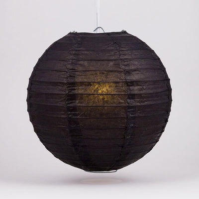 "4"" Black Round Paper Lantern, Even Ribbing, Hanging Decoration (10 PACK)"