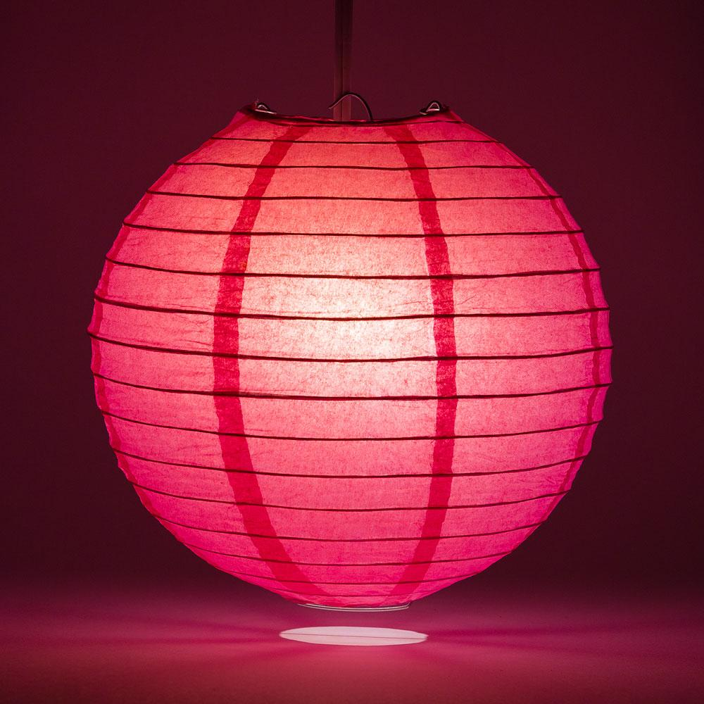 "8"" Fuchsia / Hot Pink Round Paper Lantern, Even Ribbing, Chinese Hanging Wedding & Party Decoration"