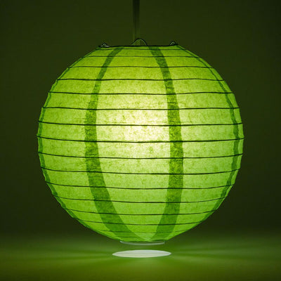 "14"" Grass Greenery Round Paper Lantern, Even Ribbing, Chinese Hanging Wedding & Party Decoration"