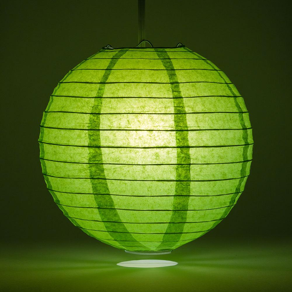 "12"" Grass Greenery Round Paper Lantern, Even Ribbing, Chinese Hanging Wedding & Party Decoration"