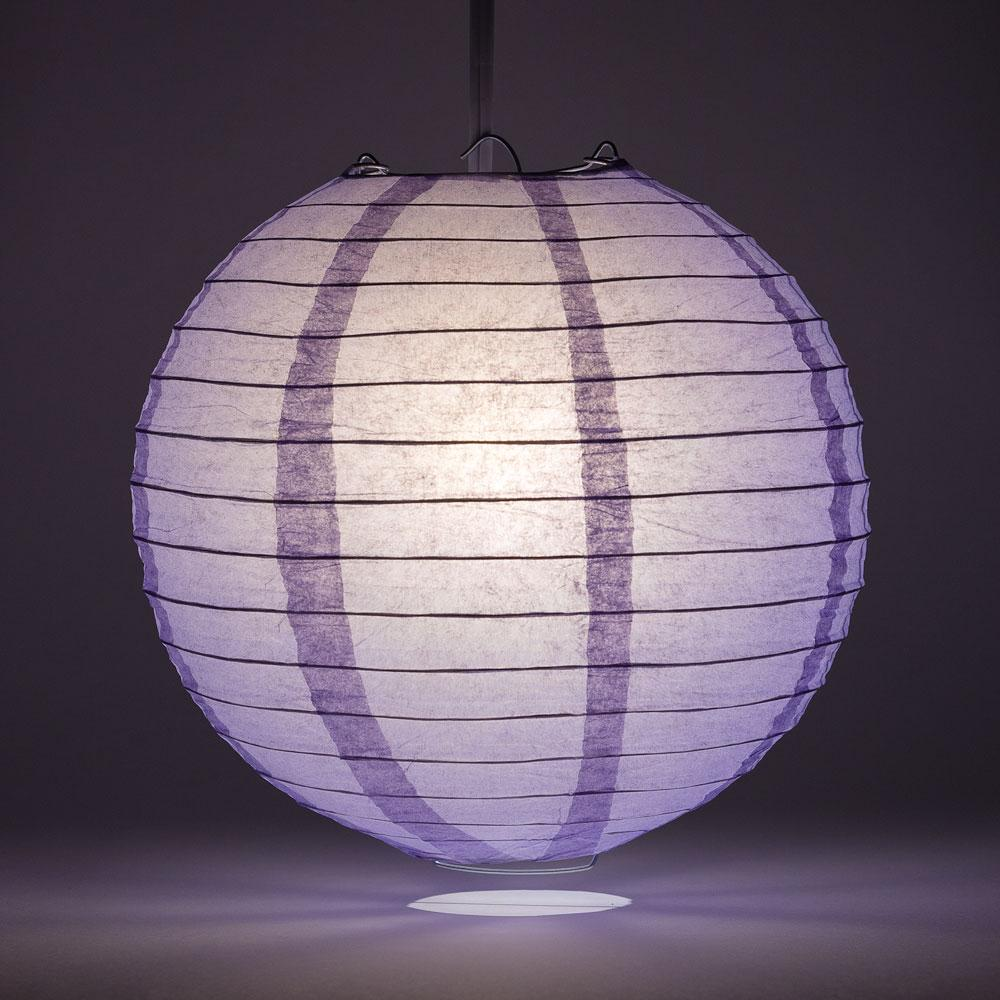 "14"" Lavender Round Paper Lantern, Even Ribbing, Chinese Hanging Wedding & Party Decoration"
