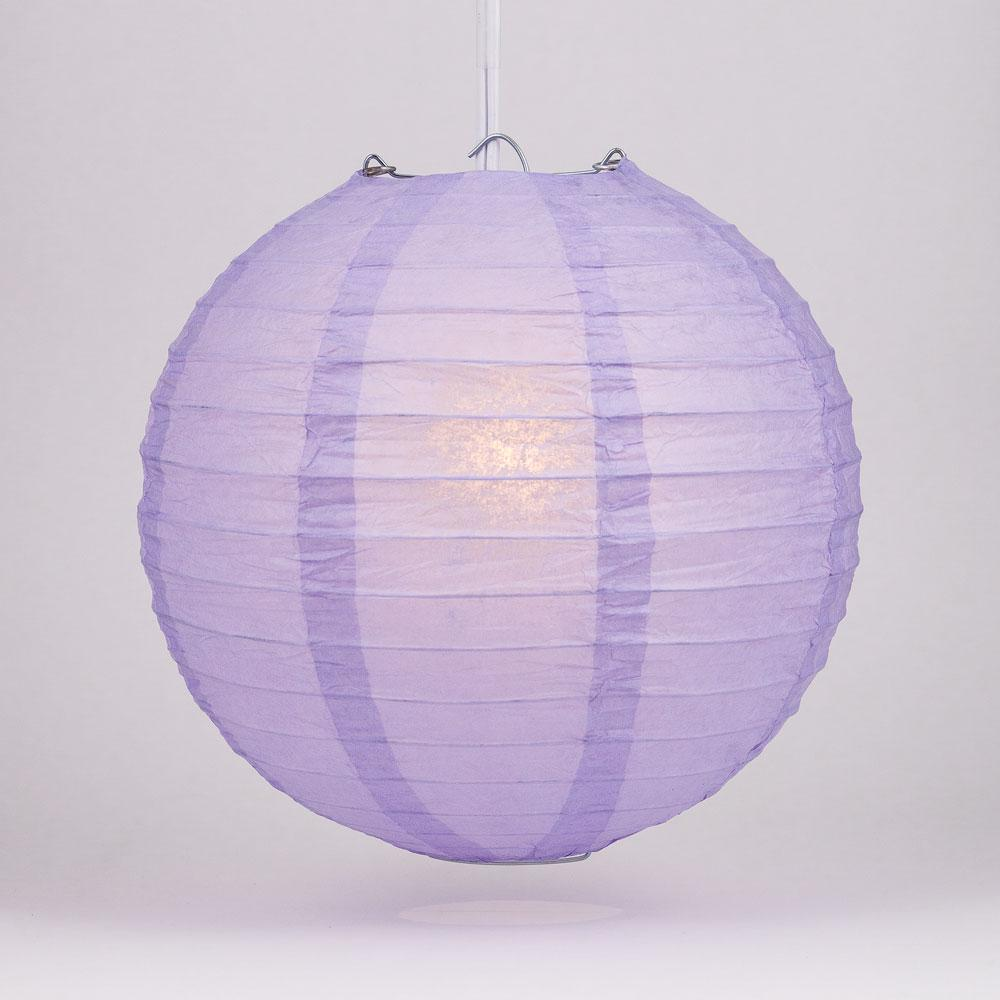 "4"" Lavender Round Paper Lantern, Even Ribbing, Hanging Decoration (10 PACK) - AsianImportStore.com - B2B Wholesale Lighting and Decor"