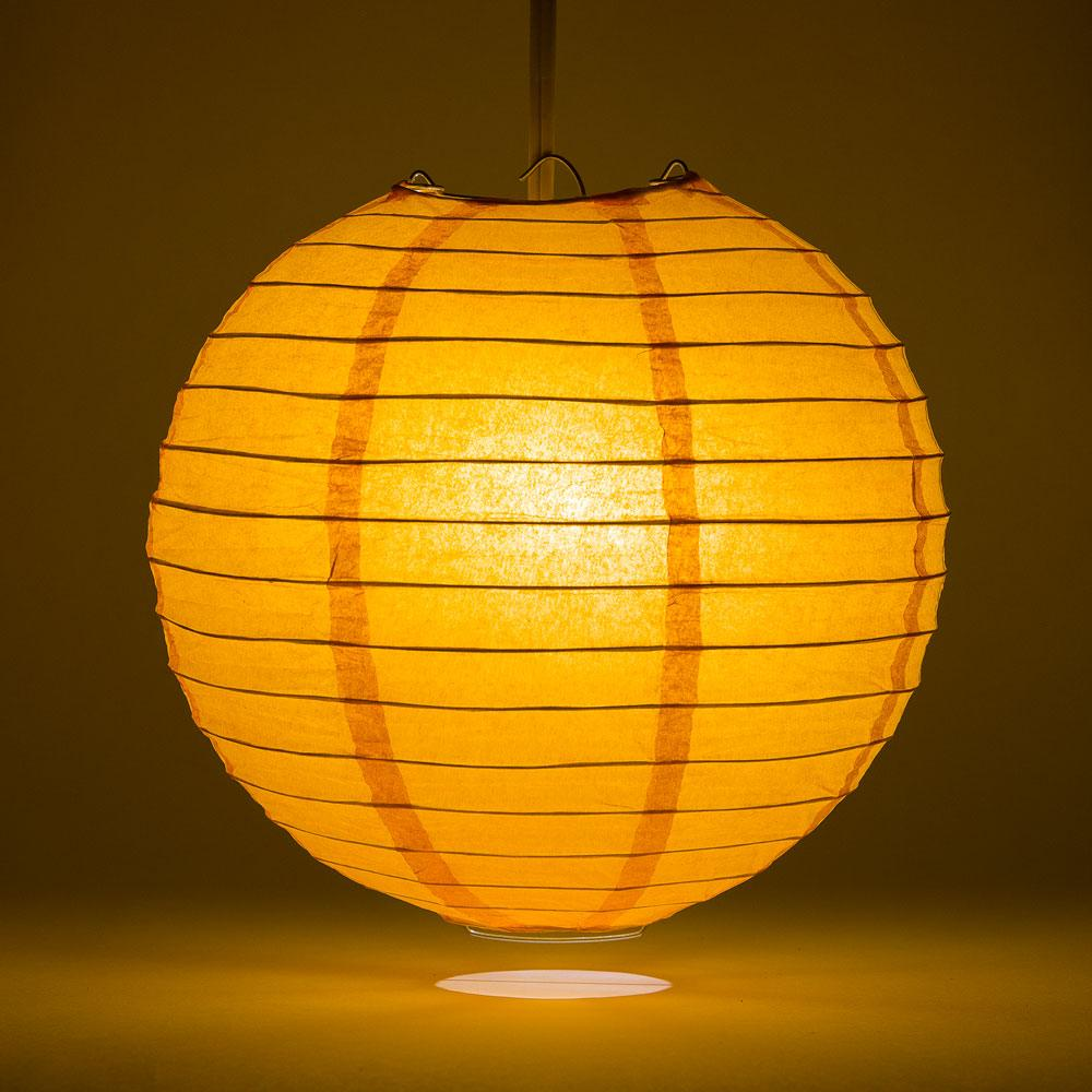 "14"" Orange Round Paper Lantern, Even Ribbing, Chinese Hanging Wedding & Party Decoration - AsianImportStore.com - B2B Wholesale Lighting and Decor"