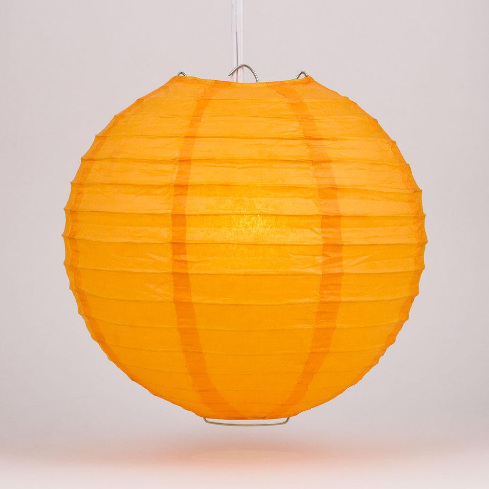 "4"" Orange Round Paper Lantern, Even Ribbing, Hanging Decoration (10 PACK) - AsianImportStore.com - B2B Wholesale Lighting and Decor"