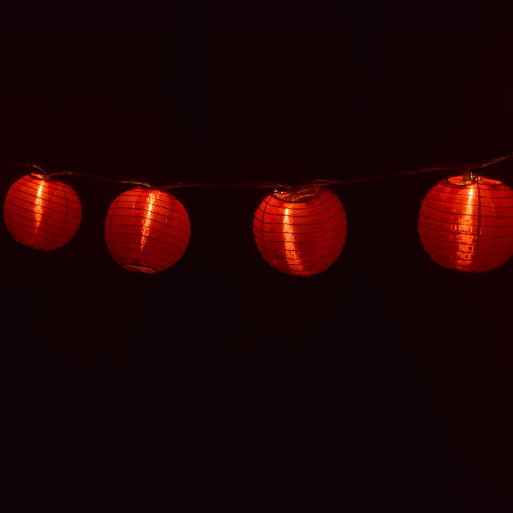 "4"" Red Shimmering Nylon Lantern Party String Lights (8FT, Expandable)"