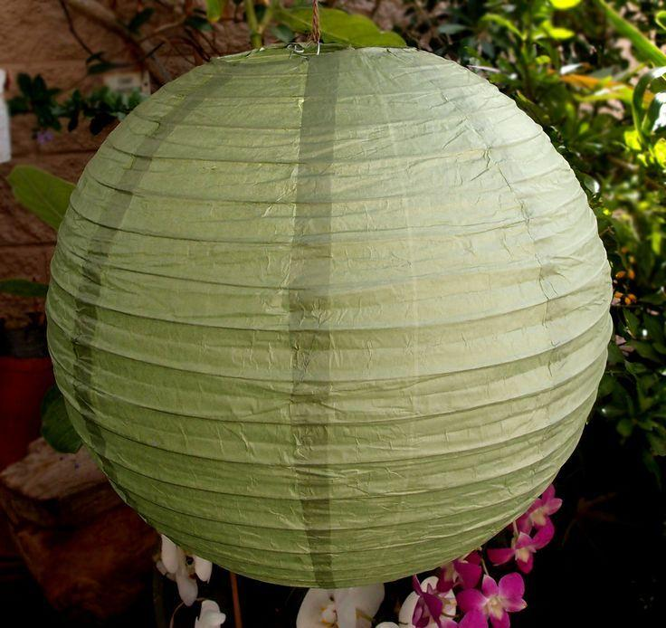 "4"" Sea Green Round Paper Lantern, Even Ribbing, Hanging Decoration (10 PACK)"