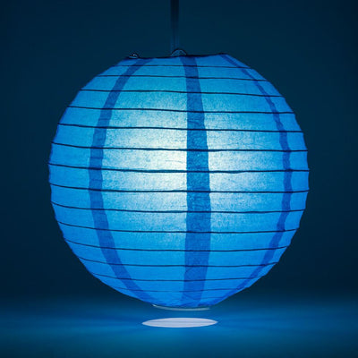 "16"" Turquoise Round Paper Lantern, Even Ribbing, Chinese Hanging Wedding & Party Decoration"