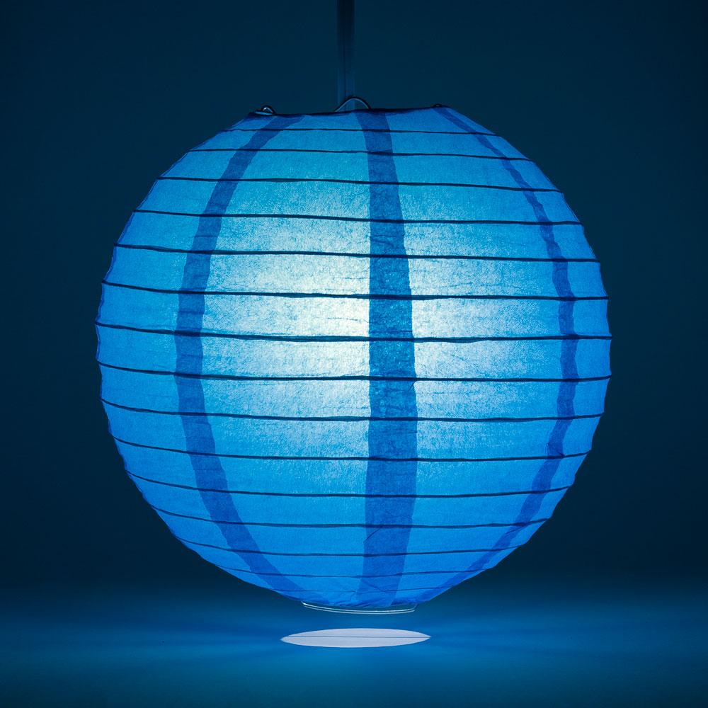 "20"" Turquoise Round Paper Lantern, Even Ribbing, Chinese Hanging Wedding & Party Decoration"