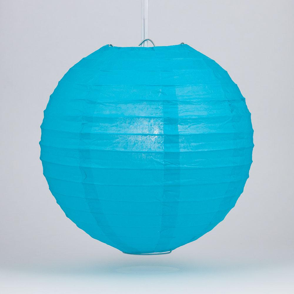 "4"" Turquoise Round Paper Lantern, Even Ribbing, Hanging Decoration (10 PACK) - AsianImportStore.com - B2B Wholesale Lighting and Decor"
