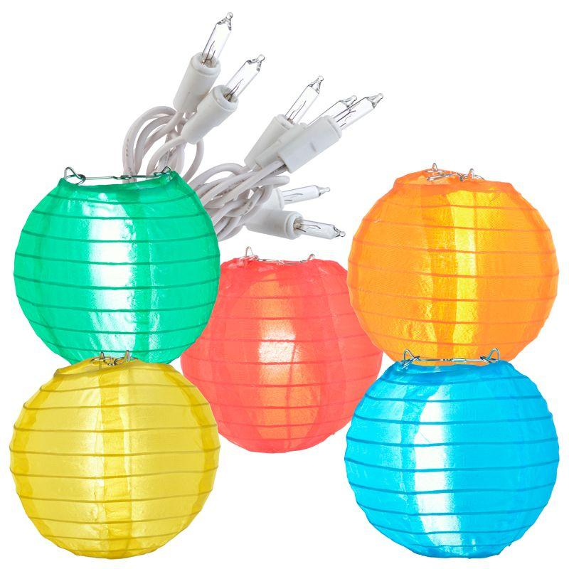 "4"" Multi Color Shimmering Nylon Lantern Party String Lights (8FT, Expandable)"