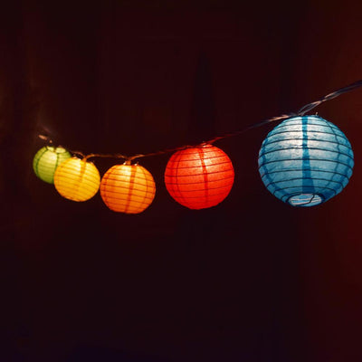 "10 Socket Multi Color Round Paper Lantern Party String Lights (4"" Lanterns, Expandable)"