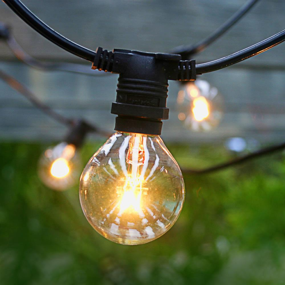 50 Socket Outdoor Commercial String Light Set, Clear Globe Bulbs, 54 FT Black Cord w/ E12 C7 Base, Weatherproof