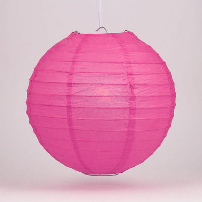 "6"" Fuchsia / Hot Pink Round Paper Lantern, Even Ribbing, Chinese Hanging Wedding & Party Decoration - AsianImportStore.com - B2B Wholesale Lighting and Decor"