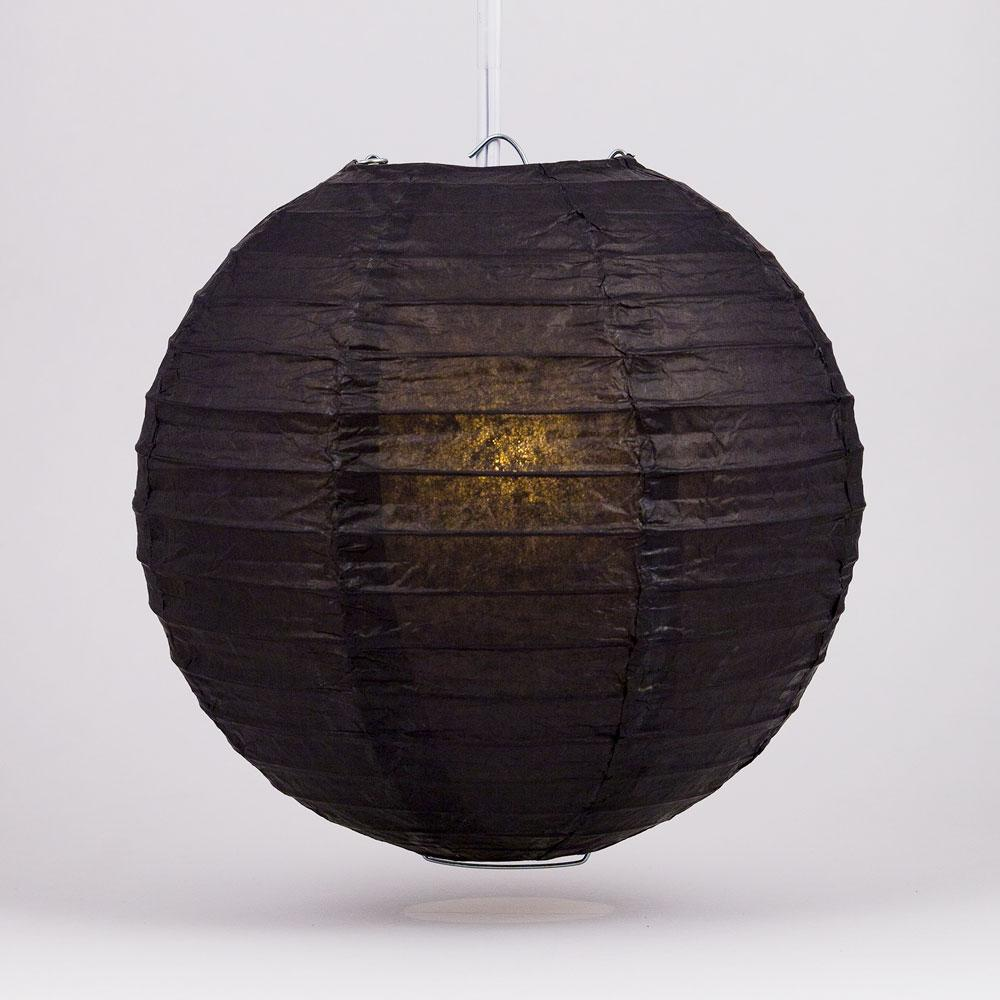 "6"" Black Round Paper Lantern, Even Ribbing, Chinese Hanging Wedding & Party Decoration - AsianImportStore.com - B2B Wholesale Lighting and Decor"
