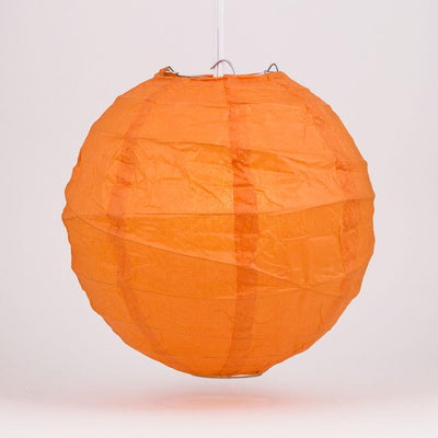 "6"" Persimmon Orange Round Paper Lantern, Crisscross Ribbing, Chinese Hanging Wedding & Party Decoration"