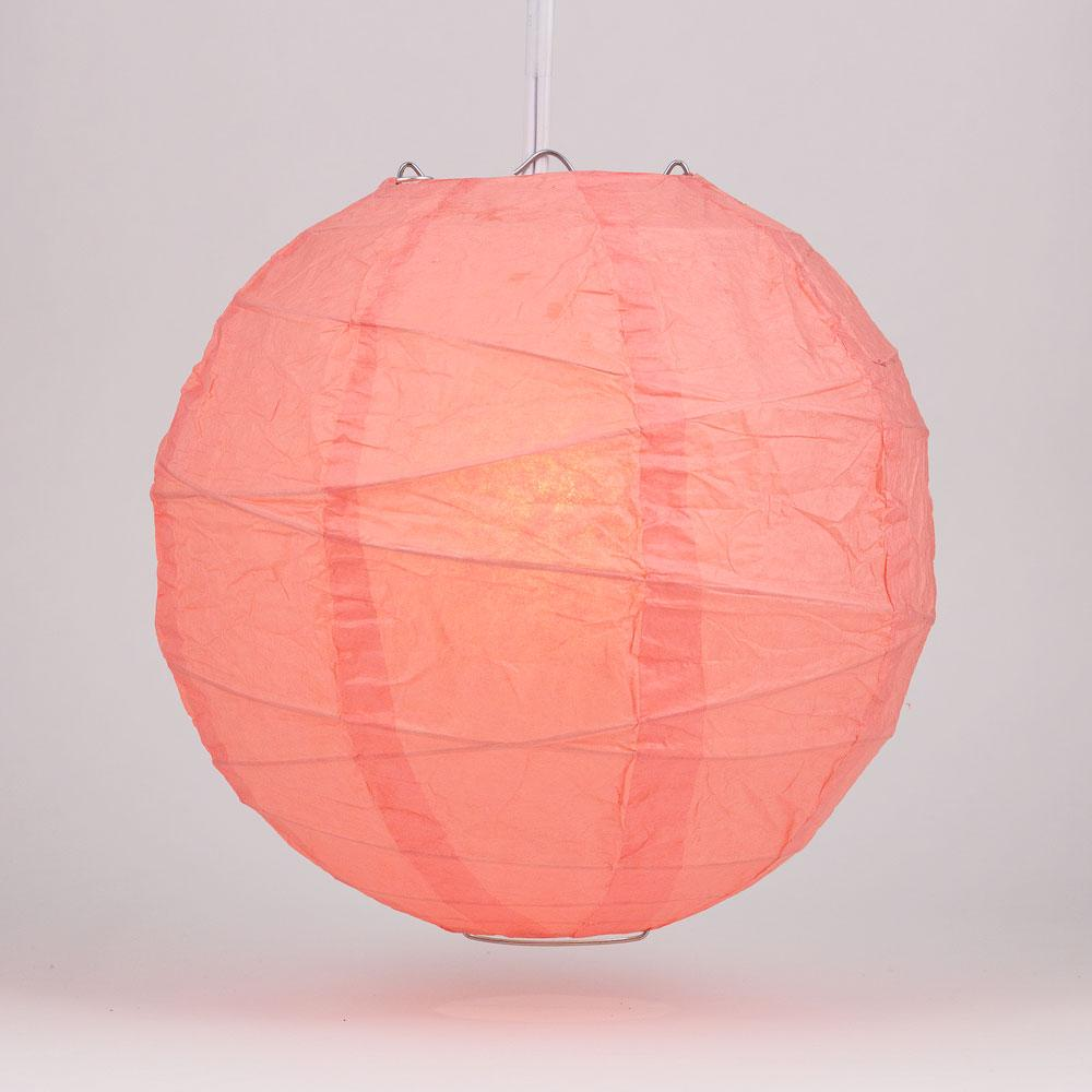 "6"" Roseate / Pink Coral Round Paper Lantern, Crisscross Ribbing, Chinese Hanging Wedding & Party Decoration"