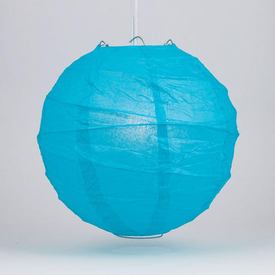 "6"" Turquoise Blue Round Paper Lantern, Crisscross Ribbing, Chinese Hanging Wedding & Party Decoration - AsianImportStore.com - B2B Wholesale Lighting and Decor"