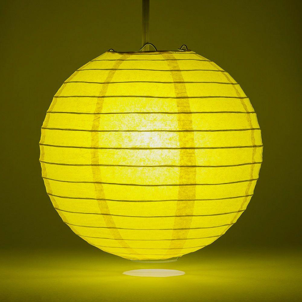 "6"" Yellow Round Paper Lantern, Even Ribbing, Chinese Hanging Wedding & Party Decoration"