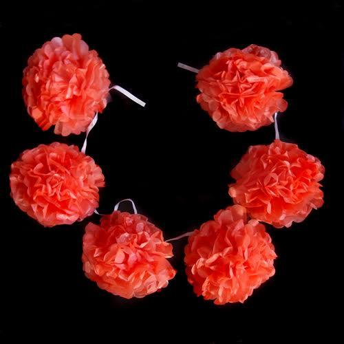 "EZ-Fluff 6"" Roseate Hanging Tissue Paper Flower Pom Pom, Party Garland Decoration (50 PACK) - AsianImportStore.com - B2B Wholesale Lighting and Décor"