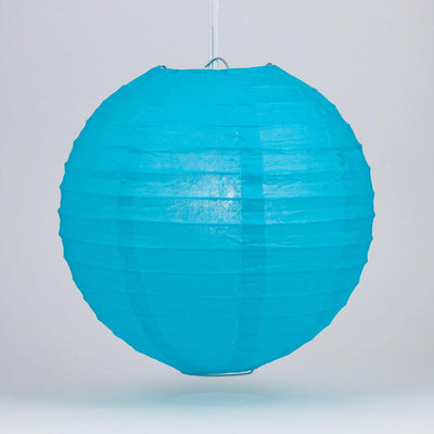 "6"" Turquoise Round Paper Lantern, Even Ribbing, Chinese Hanging Wedding & Party Decoration"