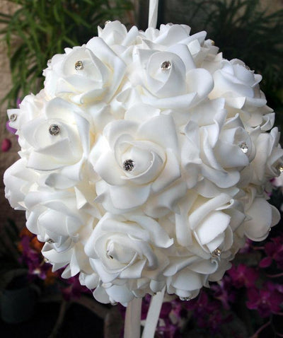 "BLOWOUT 6"" White Foam Kissing Flower Balls w/ Rhinestones"