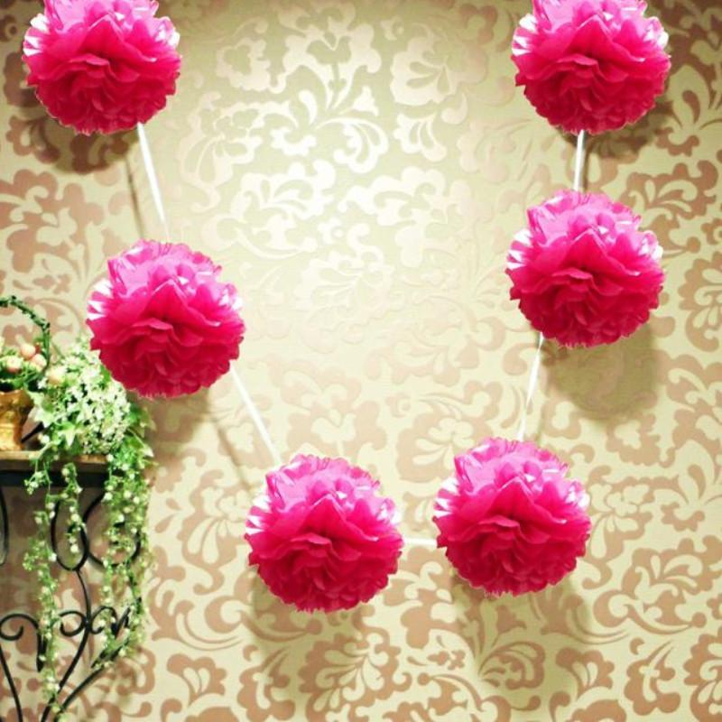 "EZ-Fluff 6"" Fuchsia Hanging Tissue Paper Flower Pom Pom, Party Garland Decoration (20 PACK) - AsianImportStore.com - B2B Wholesale Lighting and Décor"