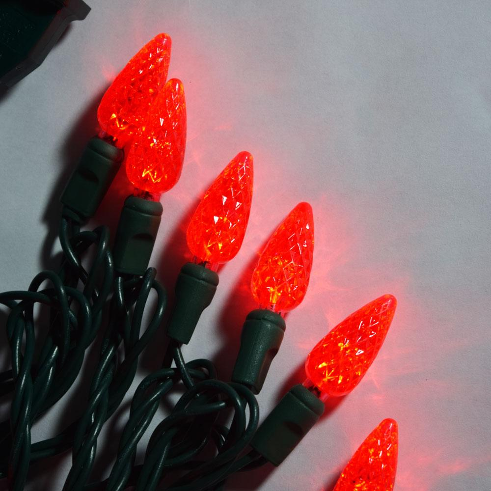 BLOWOUT 70 Outdoor Red LED C6 Strawberry String Lights, 24 FT Green Cord, Weatherproof, Expandable