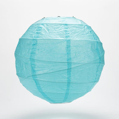 "8"" Baby Blue Round Paper Lantern, Crisscross Ribbing, Hanging Decoration"