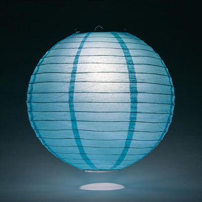 "8"" Baby Blue Round Paper Lantern, Even Ribbing, Hanging Decoration - AsianImportStore.com - B2B Wholesale Lighting and Decor"