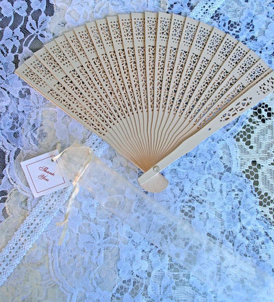 "8"" Beige / Ivory Wood Panel Hand Fan w/ Organza Bag for Weddings"